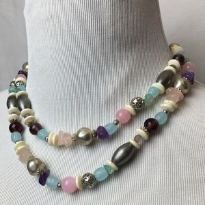 Vintage necklace natural/ glass beads two strands